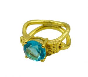 Riyo A Blue Topaz Cz 18kt Gold Plated Striking Ring Gprbtcz70-92116