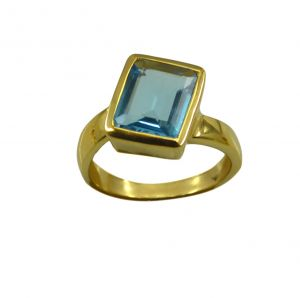 Riyo A Blue Topaz Cz 18kt Gold Plated Structural Ring Gprbtcz70-92121