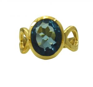 Riyo A Blue Topaz Cz 18kt Gold Plated Studded Ring Gprbtcz70-92129