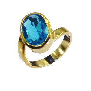 Riyo Blue Topaz Cz 18kt Gold Plated Cocktail Ring Sz 7.5 Gprbtcz7.5-92017