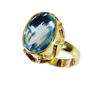 Riyo Blue Topaz Cz 18kt Y Gold Plating Mothers Ring Sz 7.5 Gprbtcz7.5-92065