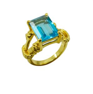Riyo A Blue Topaz Cz 18kt Gold Plated Sporty Ring Gprbtcz80-92095