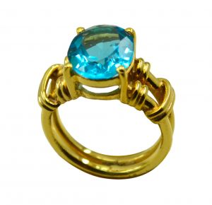 Riyo A Blue Topaz Cz 18kt Gold Plated Studded Ring Gprbtcz80-92108