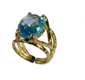 Riyo Blue Topaz 18.kt Y Gold Plated Ecclesiastical Ring Sz 6.5 Gprbto6.5-10003
