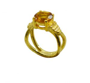 Riyo Yellow Citrine Cz 18kt Gold Plated Slender Ring Gprcicz60-94042