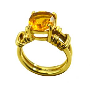 Riyo Golden Citrine Cz 18kt Gold Plated Semi Translucent Ring Gprcicz70-94030