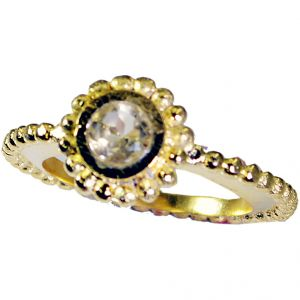 Riyo Citrine Cz 18 Kt Gold Plated Sports Ring Sz 8 Gprcicz8-94019