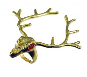 Riyo Gemstone 18kt Gold Plated Deer Ring Gprdeer65-180006