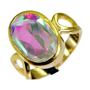 Riyo Dichroic Glass Gold Plated Fashion Gimmal Ring Sz 7 Gprdgl7-22002