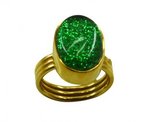 Riyo Dichroic Glass 18kt Gold Plated Hand Carved Ring Gprdgl70-22035