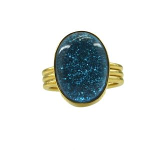 Riyo Dichroic Glass 18kt Gold Plated Hand Crafted Ring Gprdgl70-22039