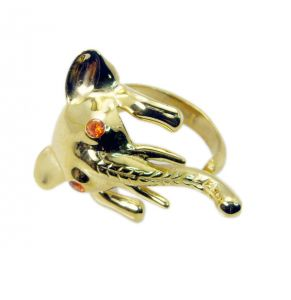 Riyo Gemstone 18kt Gold Plated Elephant Ring Gprele70-190003