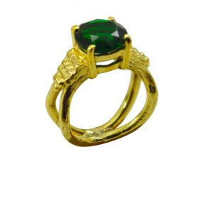 Riyo Green Emerald Cz 18kt Gold Plated One Of A Kind Ring Gpremcz80-96138