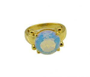 Riyo White Fire Opal Cz 18kt Gold Plated Antique Ring Gprfocz60-98043