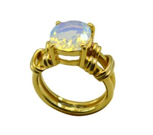 Riyo White Fire Opal Cz 18kt Gold Plated Getting Ring Gprfocz60-98049