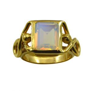 Riyo White Fire Opal Cz 18kt Gold Plated Bejeweled Ring Gprfocz60-98065