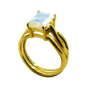 Riyo White Fire Opal Cz 18kt Gold Plated Complex Ring Gprfocz80-98040