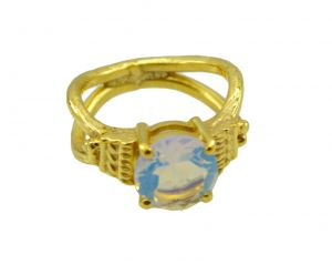 Riyo White Fire Opal Cz 18kt Gold Plated Cutting EDGE Ring Gprfocz80-98060