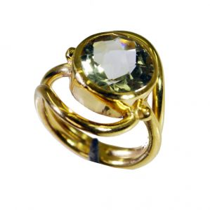 Riyo Green Amethyst 18c Gold Plated Classic Day Rings Sz 5.5 Gprgam5.5-28063