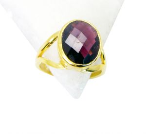 Riyo Garnet Gold Plated Jewelry Set Eternity Ring Sz 7 Gprgar7-26036
