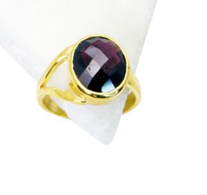 Riyo Garnet Gold Plated Jewelry Finger Armor Ring Sz 8 Gprgar8-26037