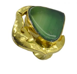 Riyo A Green Onyx 18kt Gold Plated Glitzy Ring Gprgon105-30084