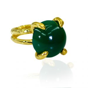 Riyo Green Onyx 18k Gold Plating Class Ring Sz 6 Gprgon6-30055
