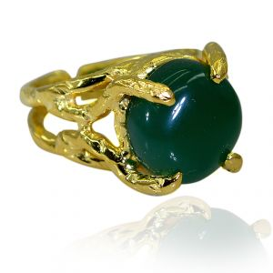 Riyo Green Onyx 18kt Y.g. Plated Classic Day Rings Sz 6 Gprgon6-30056