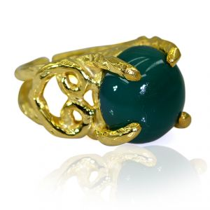 Riyo Green Onyx 18 Kt Y Gold Plating Ecclesiastical Ring Sz 6 Gprgon6-30057
