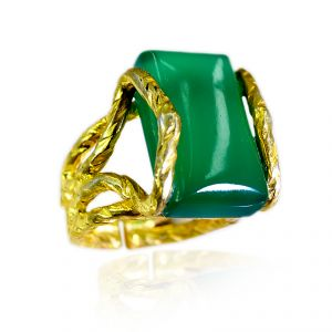 Riyo Green Onyx 18c Gold Polish Aqiq Ring Sz 6.5 Gprgon6.5-30058