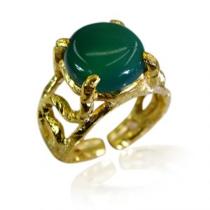 Riyo Green Onyx 18 Ct Ygold Plated Claddagh Ring Sz 6.5 Gprgon6.5-30059