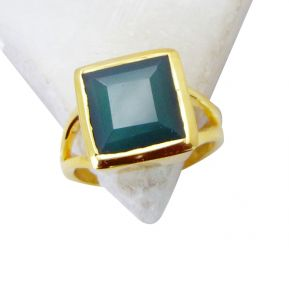Riyo Green Onyx 18c Y Gold Plated Gimmal Ring Sz 7 Gprgon7-30027