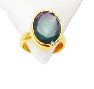 Riyo Green Onyx 18k Y.g. Plated Mothers Ring Sz 7 Gprgon7-30031