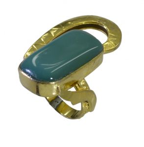 Riyo A Green Onyx 18kt Gold Plated Hand Carved Ring Gprgon70-30083