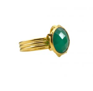 Riyo A Green Onyx 18kt Gold Plated Handcrafted Ring Gprgon75-30080