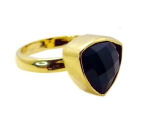 Riyo Green Onyx 18-kt Y Gold Plating Ecclesiastical Ring Sz 9 Gprgon9-30054