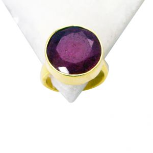 Riyo Indi Ruby 18 Kt Gold Plated Cocktail Ring Sz 5 Gpriru5-34005