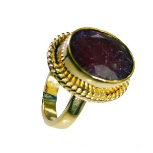 Riyo Indi Ruby Gold Plated Set Mothers Ring Sz 6.5 Gpriru6.5-34051