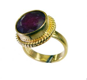 Riyo Indi Ruby 18 Kt Gold Platings Finger Armor Ring Sz 7 Gpriru7-34063