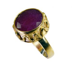 Riyo Indi Ruby 18.kt Y Gold Plated Cameo Ring Sz 7 Gpriru7-34072