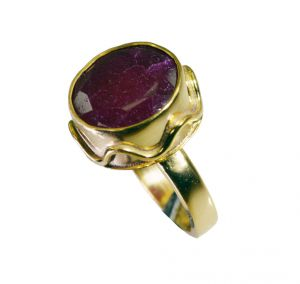 Riyo Indi Ruby 18-kt Y Gold Plating Ring Sz 7 Gpriru7-34073