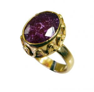 Riyo Indi Ruby 18 Kt Y Gold Plating Classic Day Rings Sz 7 Gpriru7-34078
