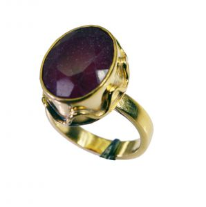 Riyo Indi Ruby 18k Y Gold Plate Sports Ring Sz 7.5 Gpriru7.5-34090