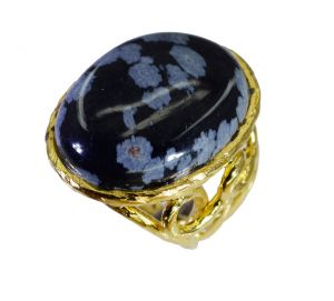 Riyo Jasper 18.kt Gold Plating Cocktail Ring Sz 5 Gprjas5-40004