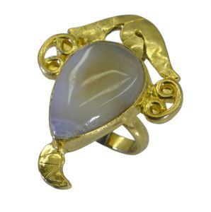 Riyo Jasper 18kt Gold Plated Hand Carved Ring Gprjas95-40018