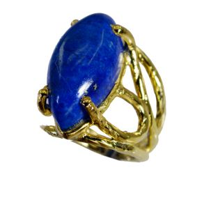 Riyo Lapis Lazuli 18 Kt Y Gold Plating Wedding Ring Jewelry Sz 4.5 Gprlla4.5-44046