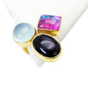 Riyo Black Onyx 18-kt Y Gold Plated Mothers Ring Sz 6 Gprmul6-52022