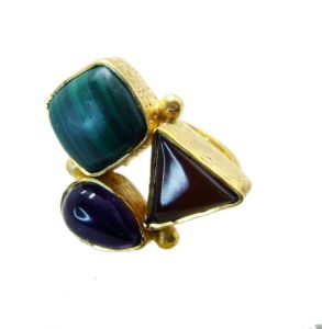 Riyo Malachite 18.kt Y Gold Plating Sports Ring Sz 7 Gprmul7-52044
