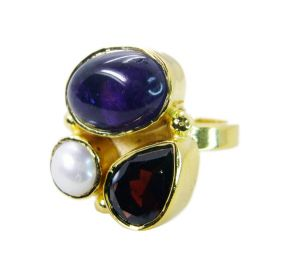 Riyo Amethyst 18k Y Gold Plating Cocktail Ring Sz 7 Gprmul7-52058