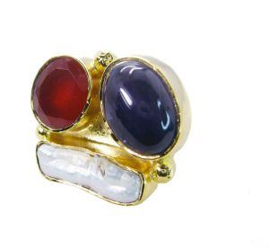 Riyo Pearl Gold Plated Set Finger Armor Ring Sz 8 Gprmul8-53005